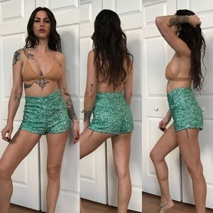 festival seafoam mermaid green sequin shorts 🖤